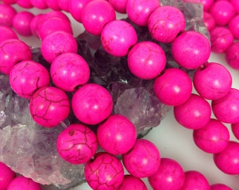 Lot of 5 strands 10mm Hot Pink Howlite Turquoise Loose Spacer Beads Round 15.5 inch strand (BH4665)