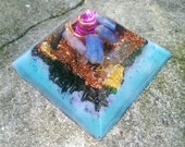 Orgonite Pyramid Sky Blue and Pink Vibes // Kyanite Orgone Generator