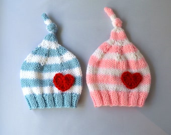 Knit Twin Baby Hat Set, Twin Baby Gift, Valentines Baby Hats, Baby Twin Photo Prop, Knitted Baby Hats, Baby Sleeping Caps, Baby Clothes