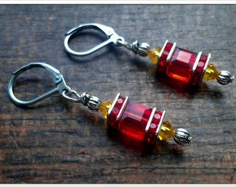 Inspired Kansas City Chiefs Football Swarovski Crystal Earrings