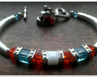 Inspired By The Miami Dolphins Crystal Bracelet