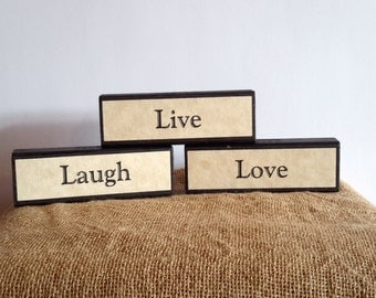 small inexpensive gift, happy word art, home decor, Live Laugh Love, reclaimed, farmhouse country primitive