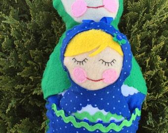 Matryoshka felt doll, mommy & me