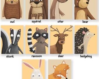 Cute Nursery Art woodland animals, printable forest pdf files / Fox, bear, squirrel, otter, owl, raccoon, rabbit, hedgehog, skunk and deer