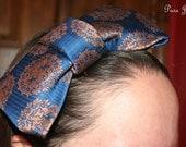 "Navy Blue Bow ""Tie"" Stretch Headband"
