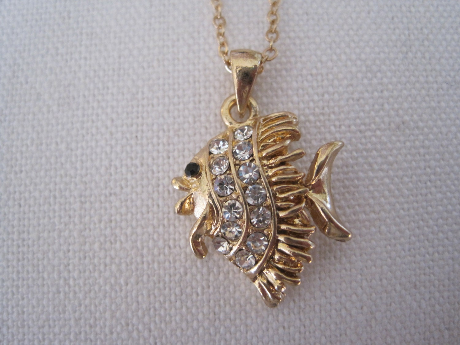 Gold angel fish necklace rhinestone fish necklace for Gold fish pendant