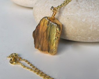 Slab Labradorite Necklaces- Gold Necklaces- Statement Necklace- Silver Necklace- Gifts for Her- Classic Necklace- Labradorite- Raw Necklace