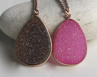 Pink Druzy Necklace- Gifts for Her- Pink Necklace- Rose Gold Necklaces- Bridesmaid Gifts- Rose Gold Necklace