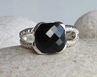 Black Onyx Statement Ring- Double Rope Band Ring- Black Gemstone Faceted Ring- Sterling Silver Ring- Minimalist Simple Ring