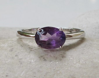 Amethyst Silver Ring Oval Stack Simple Minimal February Birthstone Dainty Ring
