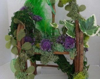Enchanting ....Woodland Fairy Chair or Throne...Lights...Fantasy......OOAK