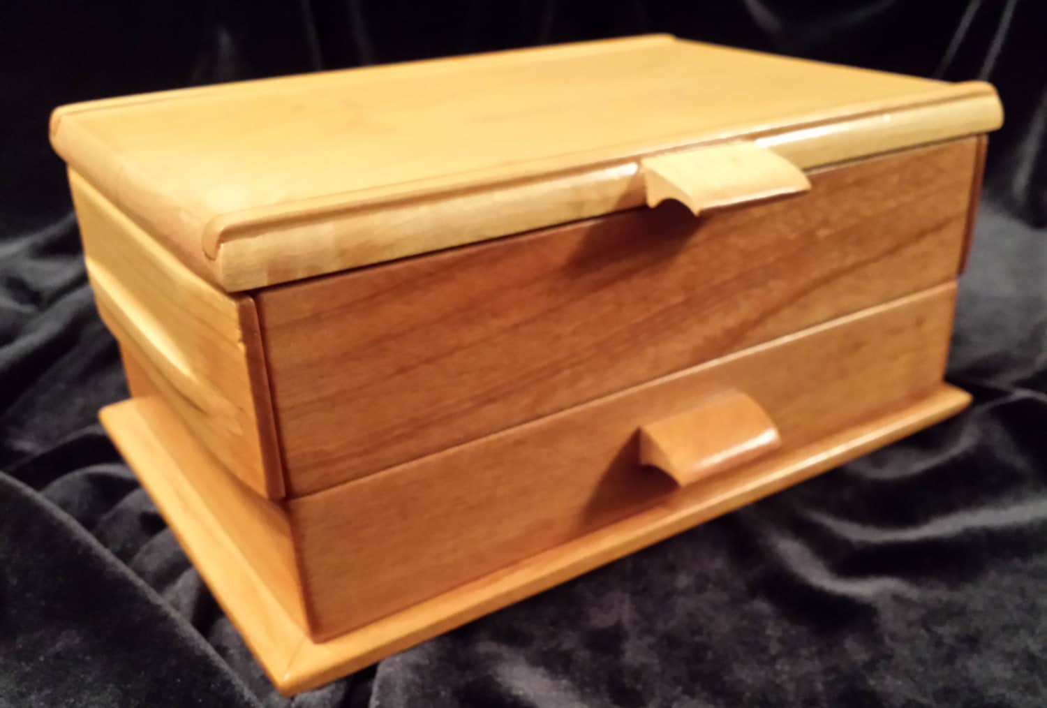 wood jewelry box solid natural cherry and maple hardwood