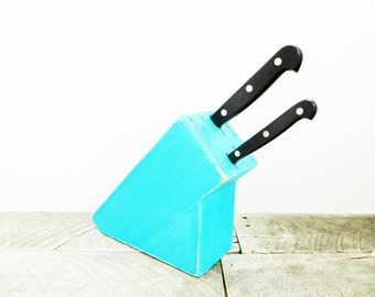 Knife Block - Shabby Chic Aqua - Kitchen Decor