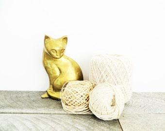 Large Brass Cat - Vintage - Patina - Boho Chic Decor