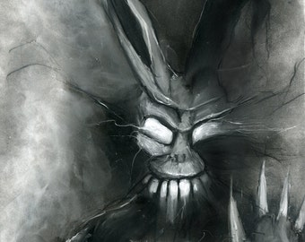 Donnie Darko Frank the Bunny illustration charcoal pastel giclée fine art wall print 8x10