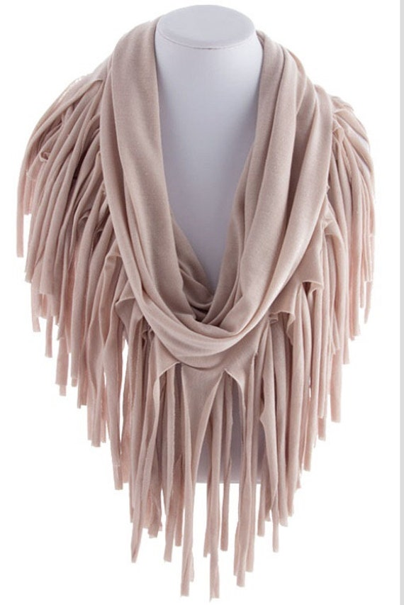 taupe fringed infinity scarf loop scarf circle by scarvesscene