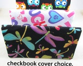 Dragonfly Checkbook Cover - Coupon Holder - Choice of Print - Dragonflies Peace Laugh, Owls Print - Turquoise - Purple - Buy 3 Get One Free