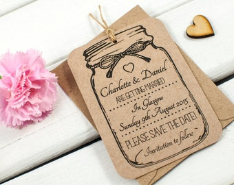 save-the-date mason jar - kraft rustic