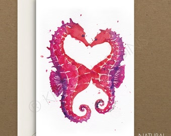 Seahorse Nautical Hearts Card Blank Inside - Valentine's Day / Love / Thank You