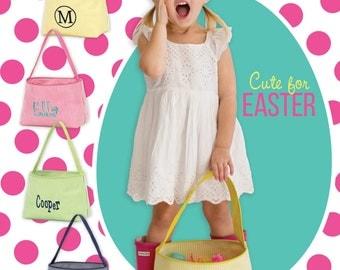 Halloween Bucket, Seersucker Travel Basket,  Easter Baskets, Toy Bags, Easter Bag, Easter Tote, Seersucker Bag, Toy Container