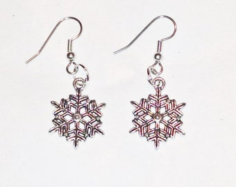 Simple Snowflake Earrings in Sterling Silver Handmade Jewelry