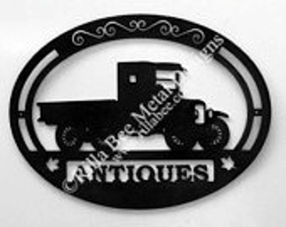 Antique Metal Sign With Old Truck