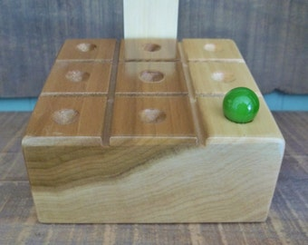 Wood tic tac toe games make great display for favorite vintage marbles, also store marbles in wood block classic travel board game gift idea