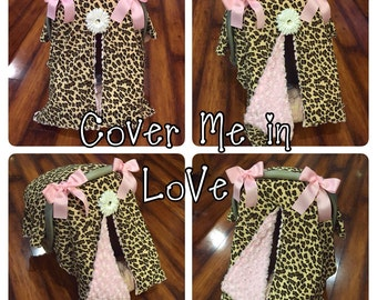 Leopard and light pink rose minky car seat canopy
