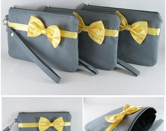 SUPER SALE - Set of 2 Bridal Wedding Clutches - Gray with Little Yellow Bow Clutches - Made To Order