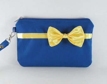 SUPER SALE - Royal Blue with Little Yellow Bow Clutch - iPhone 5 Wallet, iPhone Wristlet, Cell Phone Wristlet, Cosmetic Bag, Zipper Pouch