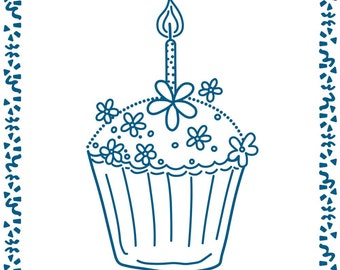 """CUPCAKE BIRTHDAY - EMBOSSALICIOUs  -   - Newest EMBOSSING FOLDERs on the Market - 6""""x6"""" Square Design"""