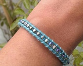 Wrap Leather Bracelet-light blue with iridescent, transparent rocailles-Meermaid