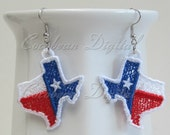 FSL Free standing lace embroidery earrings State of Texas 1 digital file instant download