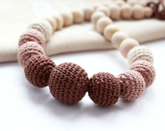 Сhocolate Brown Nursing Necklace- Breastfeeding Necklace - Crochet Necklace for mom and child - Teething necklace with crochet beads