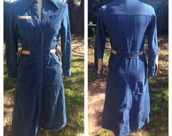 S/XS long sleeve 70's/80's Denim dress