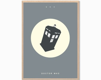 DOCTOR WHO | Tardis Poster : Modern Illustration Retro Art Wall Decor Print