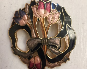 1970s Enamel and Gold Tone Metal Brooch with Tulips Vintage Flowers