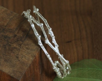 Cherry Tree Branch Cuff Bracelet in Sterling Silver, Yoshino Cherry Cuff