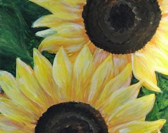 "Notecard Sunflower Art - ""Soleil"" - Painting by Lorraine Skala"