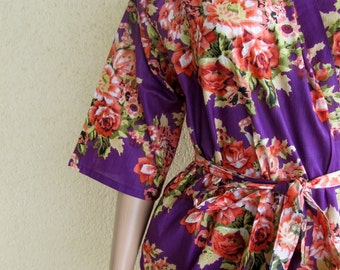 Purple Bridesmaid Robe/ Getting Ready Dress/ Purple with Red and pink Flowers/ Mix and Match Floral Kimono Robes - Color Code - C-7