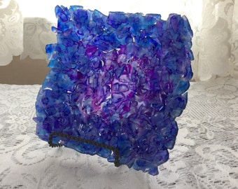 Blue Purple Decorative Glass Bowl, Recycled Glass Art Sculpture - 007