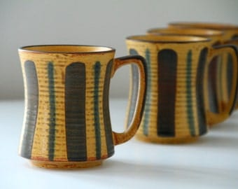 Vintage Stoneware Mugs Set of 4 Yellow Teal Brown Pottery