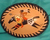 Wonderful Retro Southwestern Oval Leather Belt Buckle - L080