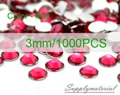 3mm/1000pcs Rose color Flatback Rhinestone Crystal accessories material supplies