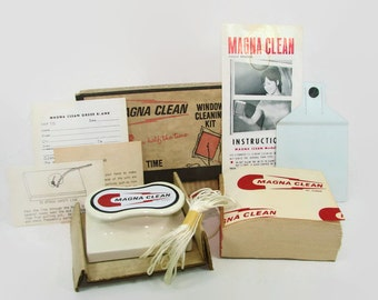 Unused Magna Clean Window Cleaning Kit, Gag Gift, Vintage Home Cleaning Aid, As Seen On TV, Magnetic Cleaner