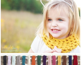 Toddler Scarf - Kids Winter Scarf - Mustard Toddler Scarf . Toddler Cowl . Child Knit Scarf . Baby Scarf . Girl's Crochet Scarf Girl's Cowl