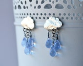Rainy Day Rain Cloud Earrings in Silver and Clear Glass