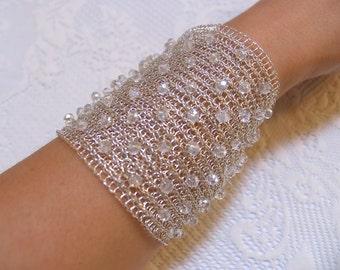 Bridal cuff wire crochet handmade bracelet Crystal wedding  cuff bracelet  Extra wide cuff Silver bracelet