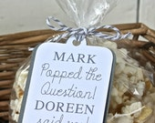 Customized He Popped the Question  - 30 Engagement Party Popcorn Favor Tags
