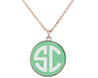 Monogrammed Necklace - Mint Disc/Plated Necklace
